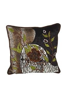"John-Richard Collection Hand-Embroidered and Beaded Safari Print Velvet Pillow, 18"" x 18"""