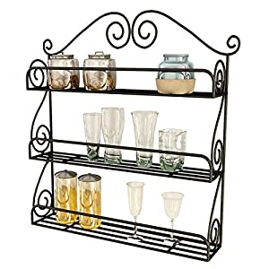 Home Sparkle Black Mild Steel Hanging Kitchen Rack Sh356