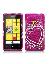 Aimo NK521PCLDI662 Dazzling Diamond Bling Case for Nokia Lumia 521 - Retail Packaging - Heart Pearl Pink