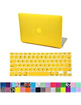 HDE Frosted Matte Rubber Coated Hard Shell Clip Snap-On Case Skin Cover for Macbook Air 13 w/ Matching Keyboard Skin (Yellow)