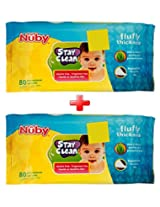Nuby Baby Wet Wipes Pack of 2 (160 Pieces)