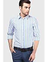 Blue Striped Regular Fit Casual Shirt Ruggers