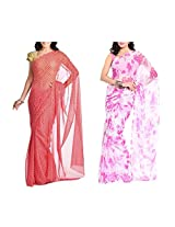 MemSahiba Women Semi-Chiffon Saree set of 2 (MS-1044-1091)