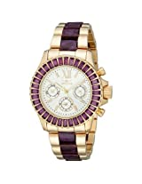 Invicta Angel Multi-Function Silver Dial Gold-Plated Purple Acetate Ladies Watch - In18873
