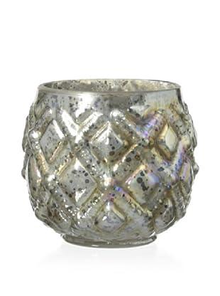 Diamond Checker Barrel Glass Votive Holder, Antique Pearl