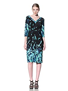 Muse Women's Ruched Front Dress with Border Print (Crisp Lime/Black)