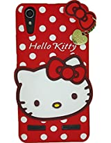 AE Cute Hello Kitty 3D cartoon Silicone With Pendant Back Case Cover For LENOVO A6000/6000PLUS RED