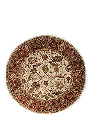 F.J. Kashanian One-of-a-Kind Hand-Knotted Hajalily Rug, Ivory/Red, 6' Round
