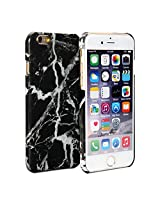 iPhone 6s Case, GMYLE Snap Cover Glossy for iPhone 6S - Black Marble Pattern Slim Hard Back Case