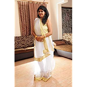 Khwaab White Net Saree With Gold Sequins Blouse