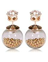 Celebrities Inspired Golden Beads Filled Double Bubbles Earrings By Via Mazzini (With Crystal Top)