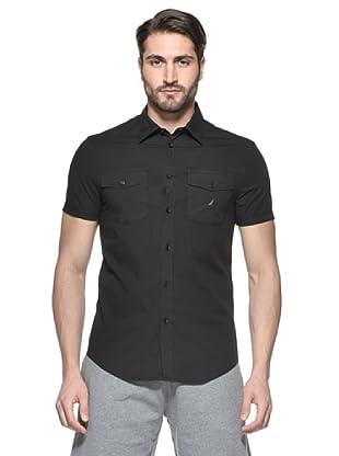 Nautica Camisa Solid Manga Corta (Negro)