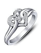 Fabulous gift ideas for your loved one this Valentine's Day ! Platinum Plated .925 Sterling Silver Swarovski CZ Heart Promise Ring (12.0)