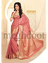 Meghdoot Tassar Silk Saree With Blouse Piece (Mt 189(Strawberry) -Pink)