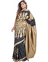 Exotic India Phantom-Black Banarasi Saree with Woven Dancing Peacock in - Black
