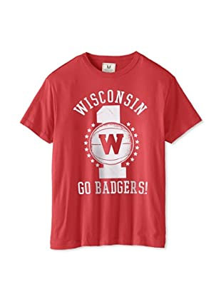 Tailgate Clothing Company Men's Wisconsin Badgers Short Sleeve Tee (Faded Red)