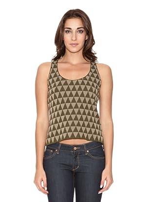 SIYU Top Knit Triángulos (verde/beig)