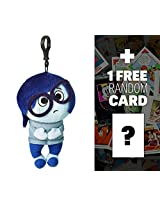 "Sadness: ~8"" Disney Pixar Inside Out Zippered Clip Plush Doll + 1 Free Classic Disney Trading Card Bundle"