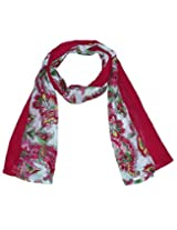 Uso Uno paisley and floral printed patch work stole with solid colour