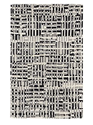 Oak Rugs Handmade Oleander Wool Rug, Black/Light Grey, 5' x 8'