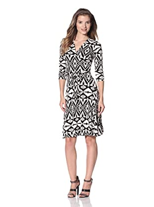 Leota Women's Faux Wrap Dress (Aztec Black/White)