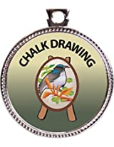 "Keepsake Awards Chalk Drawing Silver Award Disk ""Artistic Skills Collection"" 1 inch dia"