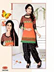 Banarasi Jeqard Fabric - Orange And Black - Patiyala Dress Material