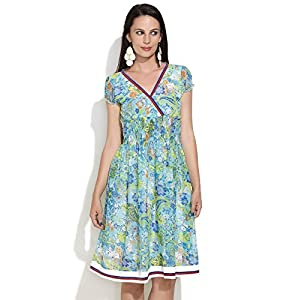 Floral And Paisley Summer Dress -Sky blue-M