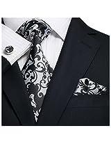 "Landisun Paisleys Mens Silk Tie Set: Necktie+Hanky+Cufflinks 91F Silver Black, 3.25""Wx59""L"