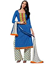 Inddus Women Blue & White Self Designed Plazzo Unstitched Material