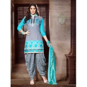 Ethnic Fire Semi Stitched Patiala Suit - Grey