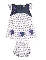 Ssmitn Baby Wear Ditsy Print Purple Frock For Girls