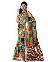 Riti Riwaz Multi Bhagalpuri Silk Casual Saree with Unstitched Blouse NRV6512B
