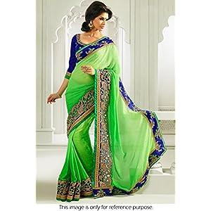 Ninecolours Bollywood Replica Jacquard Saree - Green