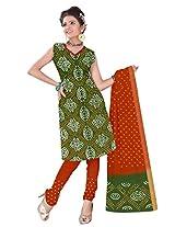 Kala Sanskruti Women Cotton Satin Bandhani Olive Dress Material