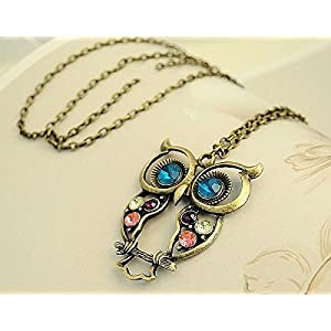 Glitz Vintage Collection Multicolour Blue Owl Alloy Pendant Necklace For Wome