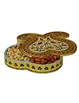 eCraftIndia Metal Decorative Dry Fruit Box with 5 Partitions (LxWxH - 8.5INx8.5INx2IN)