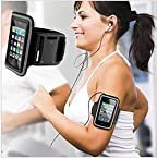 Black Workout Exercise Sports Armband Case Cover for Mobiles iPods MP3 Players (4 inch)
