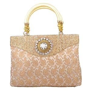 Freddy's Cream Coloured Silk Ethnic Handbag With Stone Work