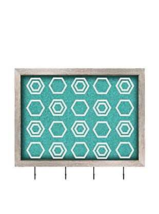 PTM Images Multiple Squares Key/Jewelry Organizer with Cork Backing, Blue/White