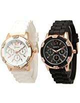 Black and White Rosegold Faux Chronograph Silicone Watch w/ Rhinestones