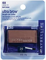 Maybelline New York Ultra-Brow Brow Powder,Shade #20 / #404 Dark Brown, 0.1 Ounce - Pack of 3