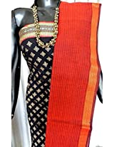 Handloom South Cotton Salwar Suit Piece-Black