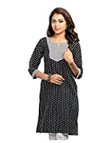 Almas Women's Cotton Regular Fit Kurti (ALM-KUR-100097_S, Black, Small)