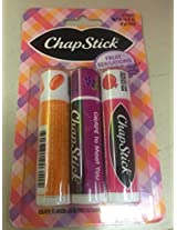 Chapstick Set Of 3 Fruit Sensations Limited Edition: Grape Jelly Bean Pomegranate