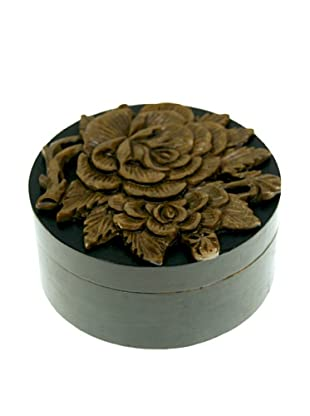 The Niger Bend Round Soapstone Box with Rose Design, Black