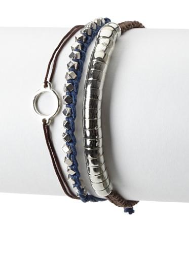 Shashi One Row Golden Nugget & Luna Snake Adjustable Bracelet Set, Brown