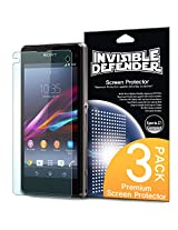 Invisible Defender -Sony Xperia Z1 Compact Screen Protector Premium High Definition (HD) Clear Film 3 PACK [2 Front + 1 Back]