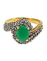 R S Jewels Gold Plated Emerald Cz Simulated Stone Ring Imitation Jewellery