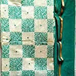 Green and offwhite color chanderi silk Dress Material